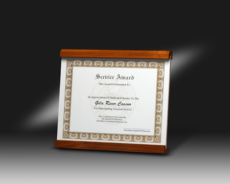 certificate holder with slide in acrylic cover lane award
