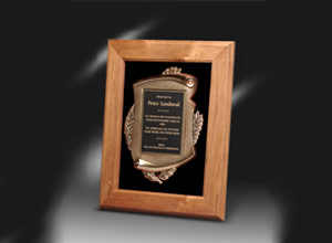 bronze wood plaque award
