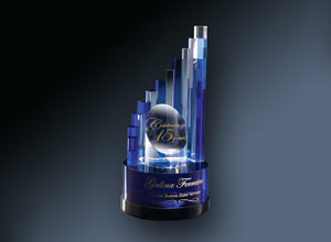 sample glass award trophy