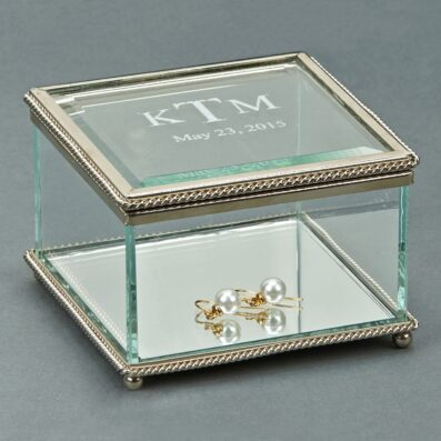 Square Glass Box w/ Hinged Cover