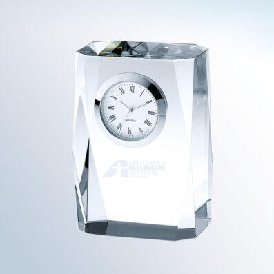 Optic Crystal Beveled Column Clock