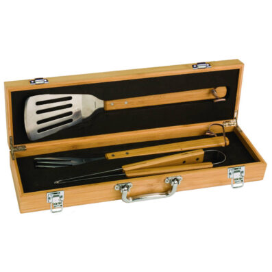 3 Piece BBQ Set in Bamboo Box